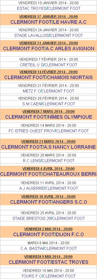 Calendrier Clermont Foot.Partenariat Clermont Foot63